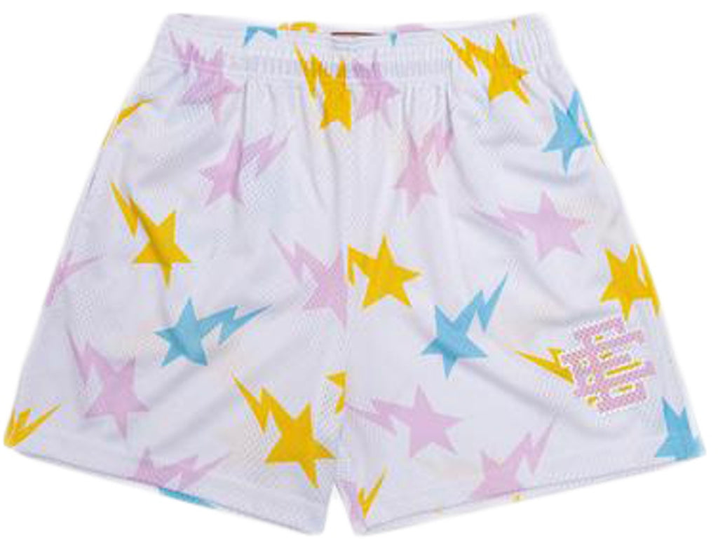 Eric Emanuel x BAPE EE Basic Short White/Yellow/Blue/Pink