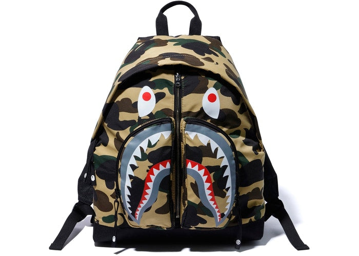 Bape 1st Camo Yellow Shark Backpack