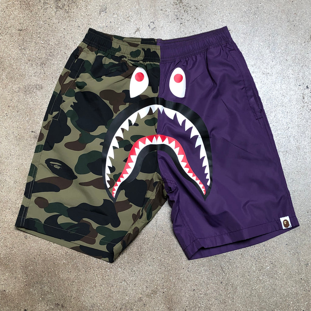 Bape 1st Camo Split Shark Shark Beach Shorts Purple/Green - Exhibit A