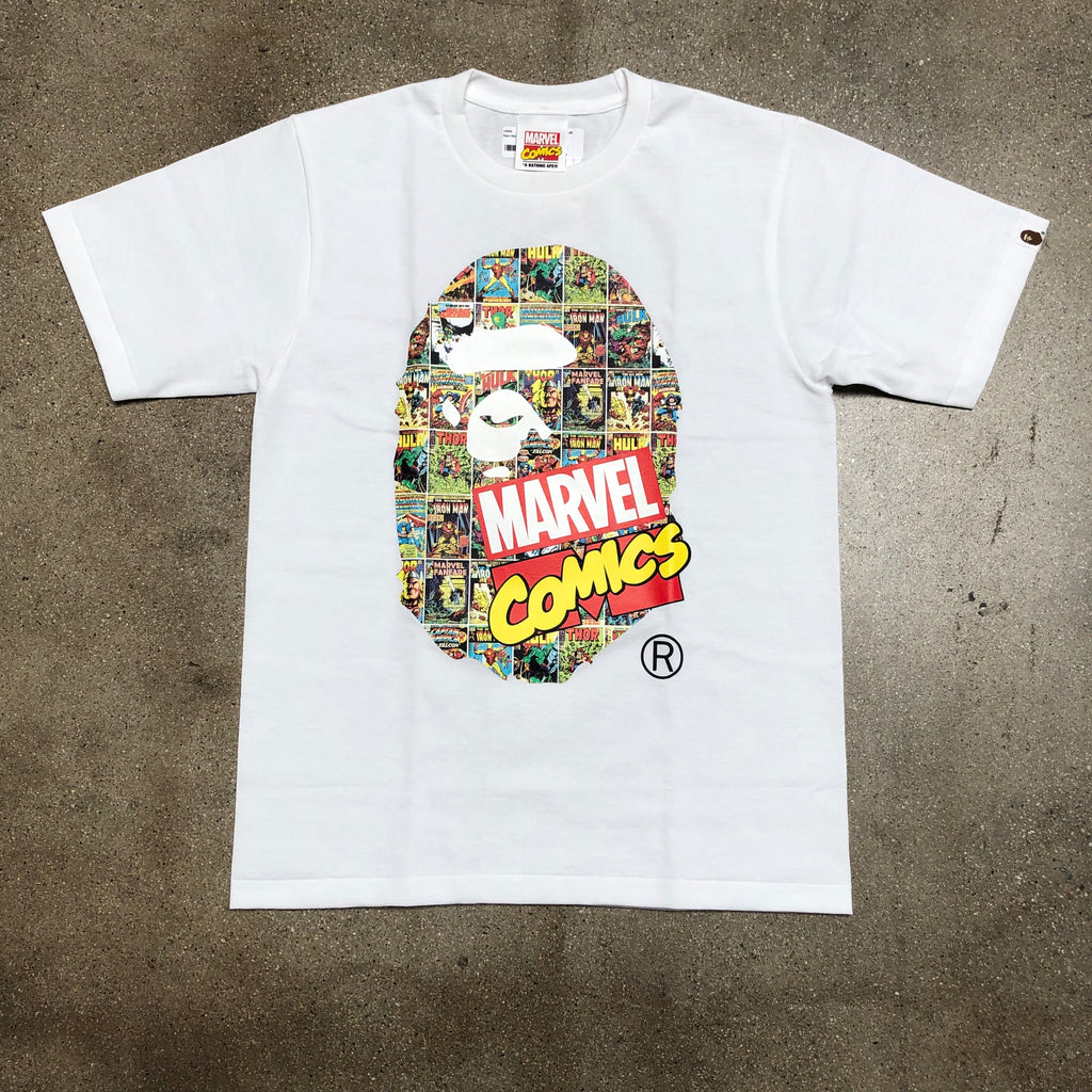 Bape Marvel Comics Ape Head Tee White