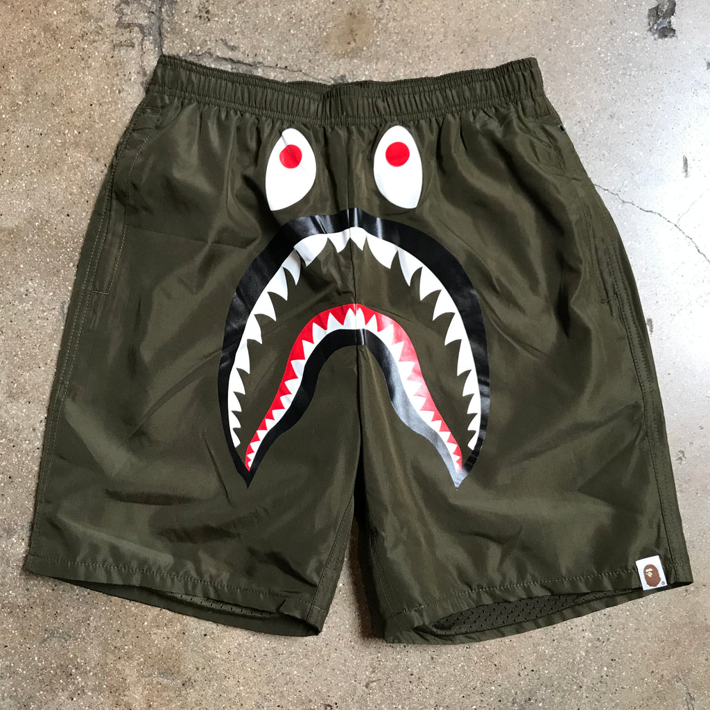 Bape PONR Shark Beach Shorts Olive - Exhibit A