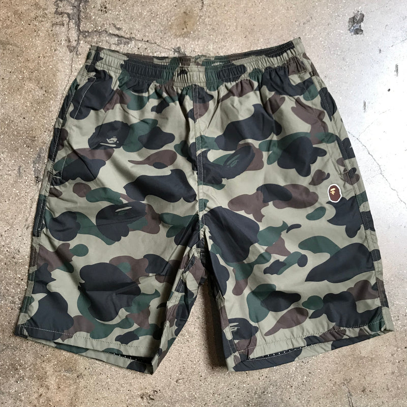 Bape 1st Camo Beach Shorts Green - Exhibit A