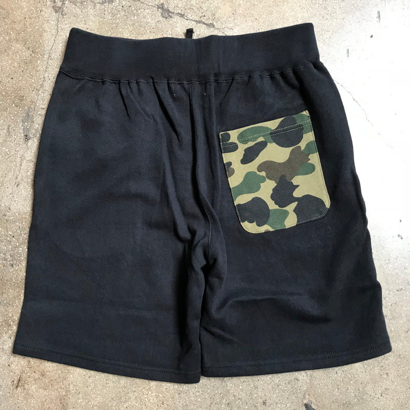 Bape 1st Camo Back Pocket Shark Shorts Black - Exhibit A