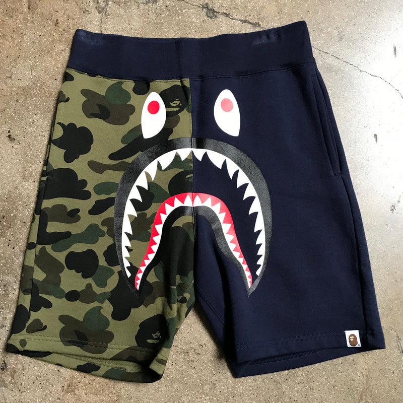 Bape 1st Camo Split Shark Shorts Navy - Exhibit A
