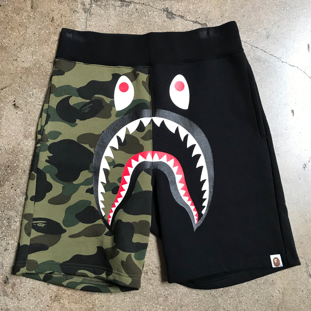 Bape 1st Camo Split Shark Shorts Black - Exhibit A