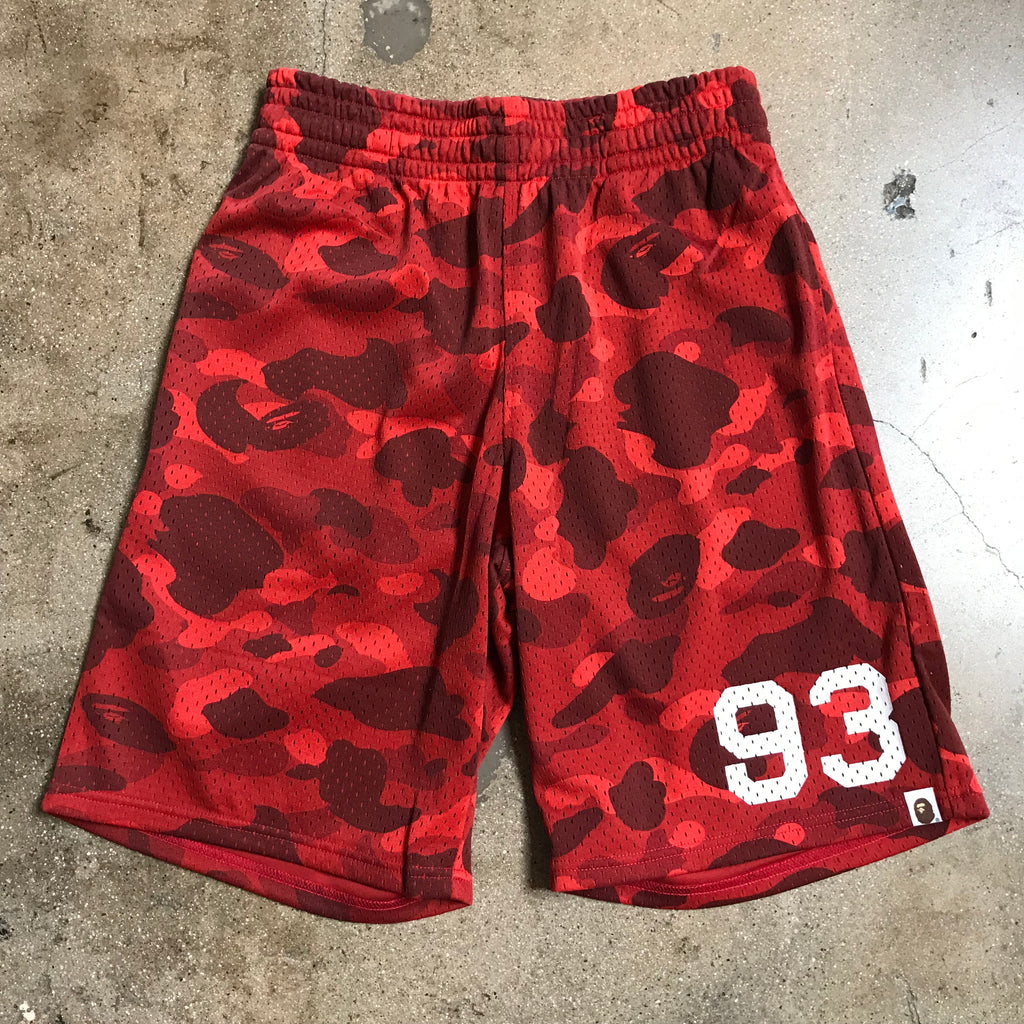 Bape 93 Color Camo Basketball Shorts Red - Exhibit A