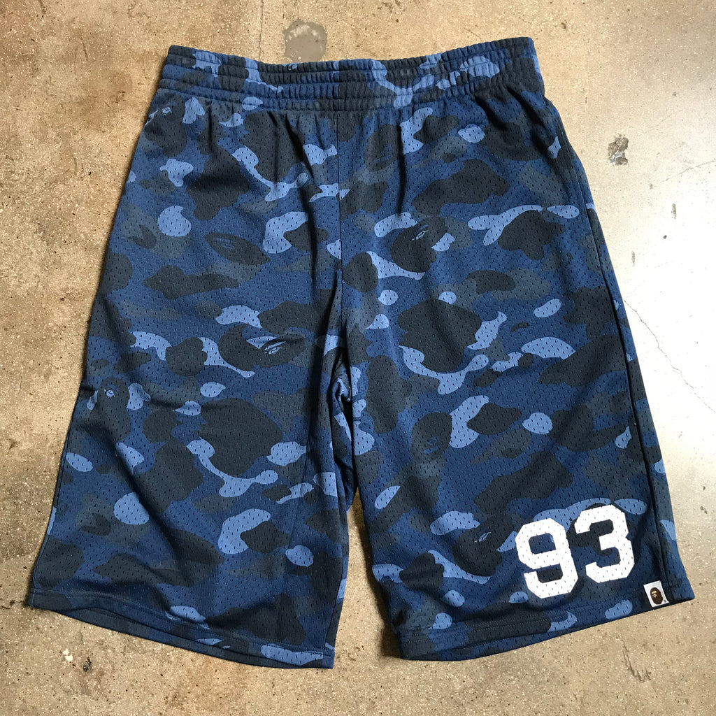 Bape 93 Color Camo Basketball Shorts Navy - Exhibit A