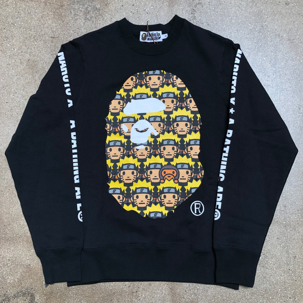 Bape Naruto Ape Head Crewneck Black - Exhibit A