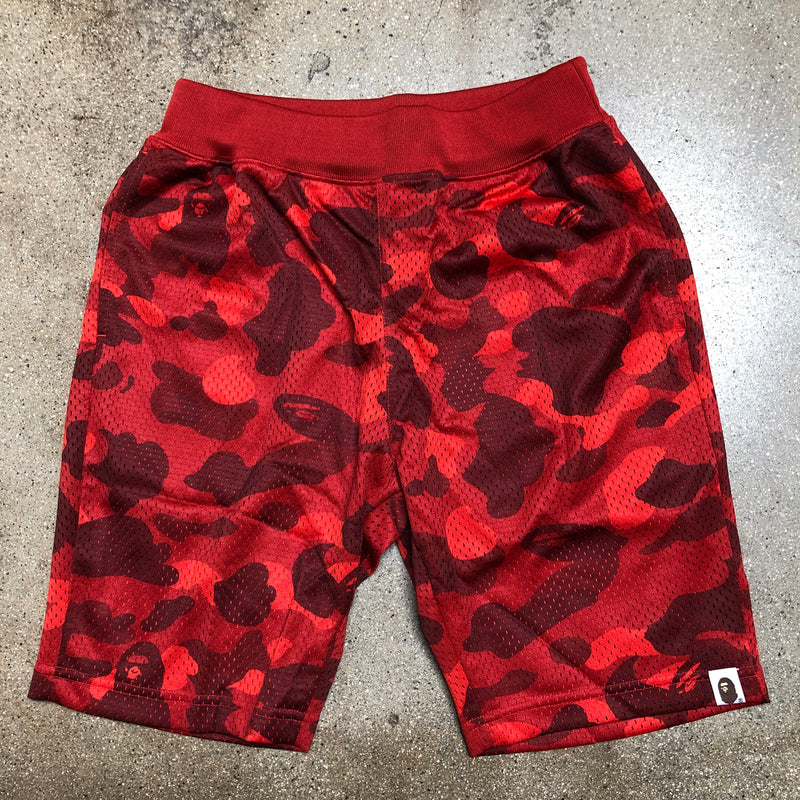 Bape Color Camo Basketball Shorts Red - Exhibit A