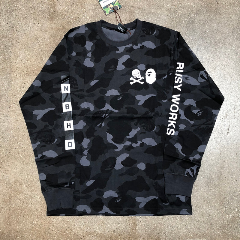 Bape x Neighborhood Camo Long Sleeve Tee Black - Exhibit A