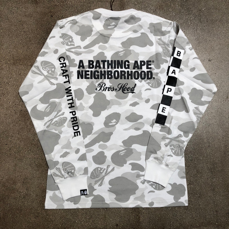Bape x Neighborhood Camo Long Sleeve Tee White - Exhibit A