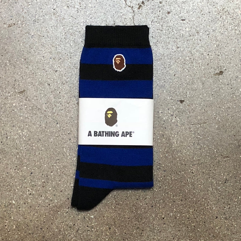 Bape One Point Stripe Socks Blue - Exhibit A