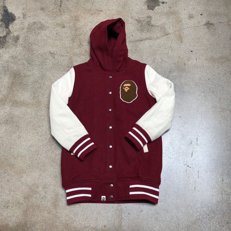 Bape Ladies Ape Head Wool Varsity Jacket Maroon - Exhibit A