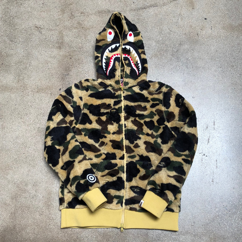 Bape Ladies 1st Camo BOA Shark Hoodie Yellow - Exhibit A