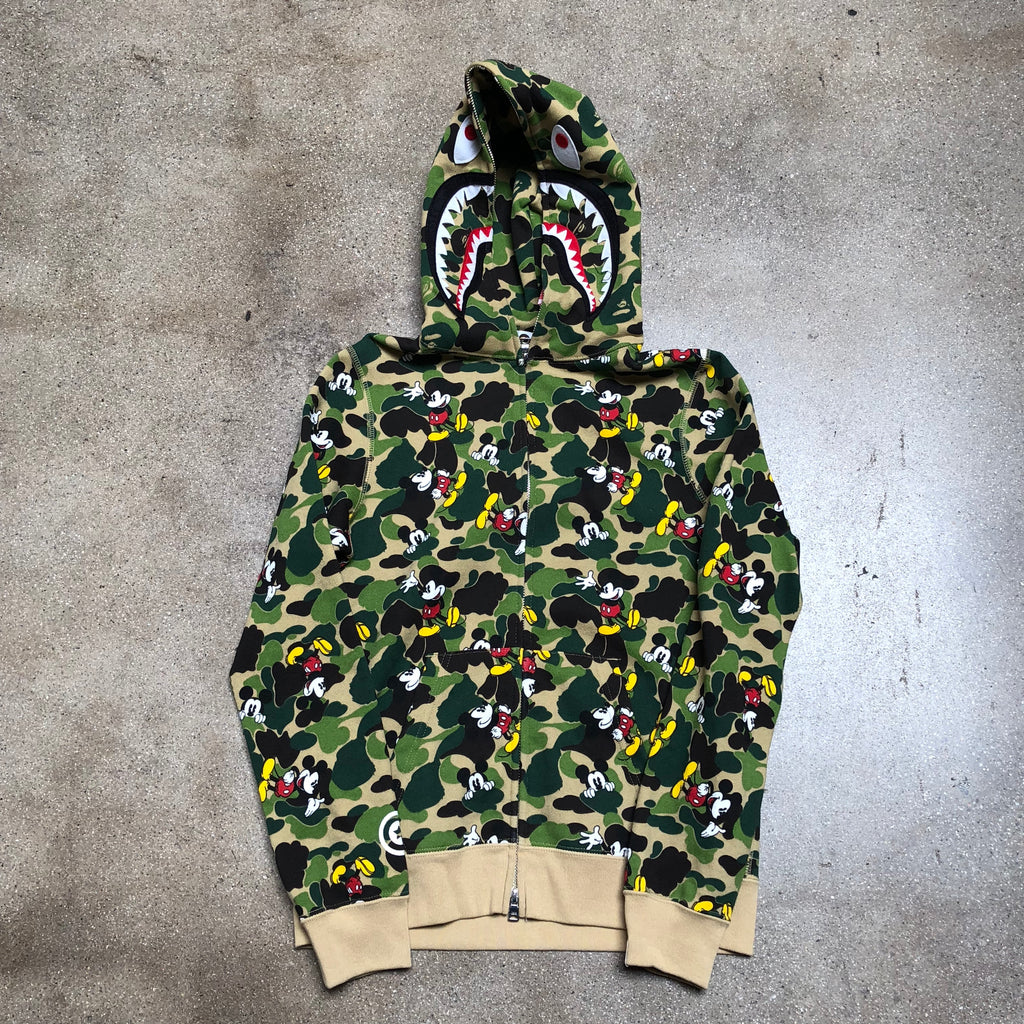 Bape Ladies ABC Camo Mickey Mouse Shark Hoodie Green - Exhibit A