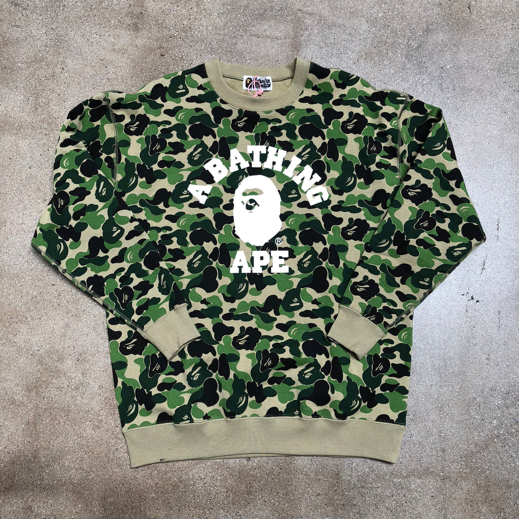 Bape Ladies ABC Camo Oversized College Crewneck Green - Exhibit A
