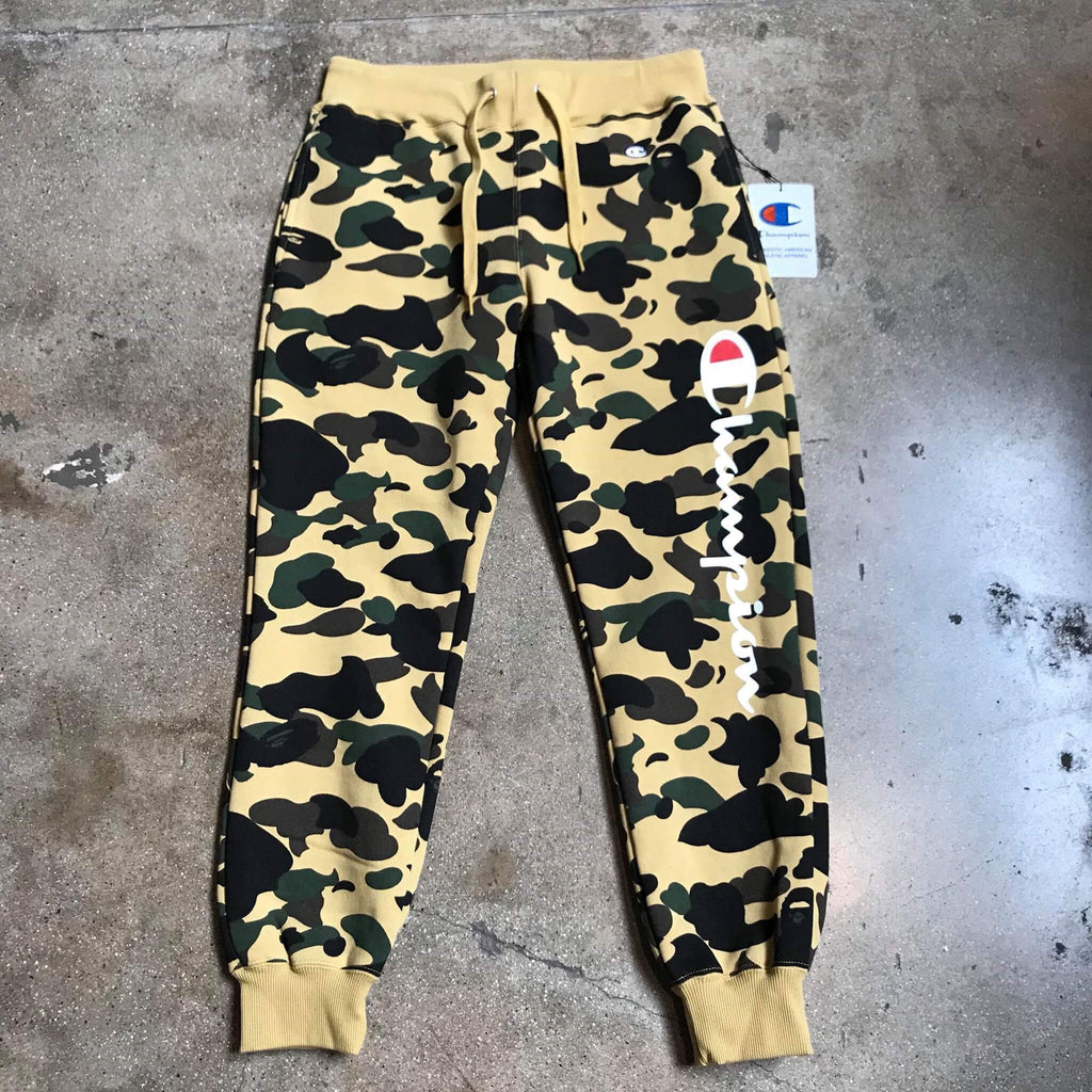 Bape 1st Camo Champion Sweatpants Yellow - Exhibit A