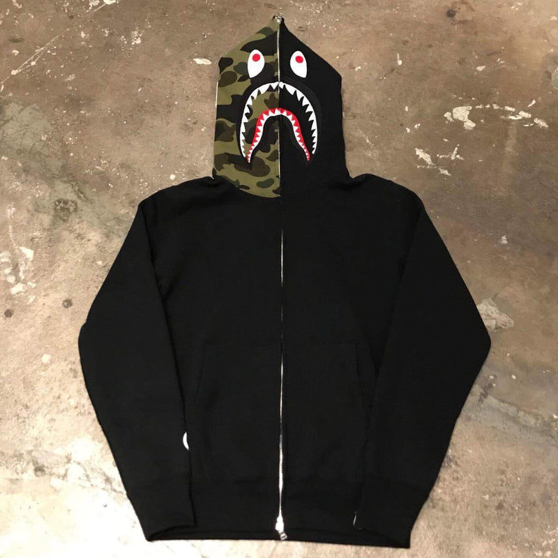 Full-Zip Shark Patch Hoodie 1st Camo Green