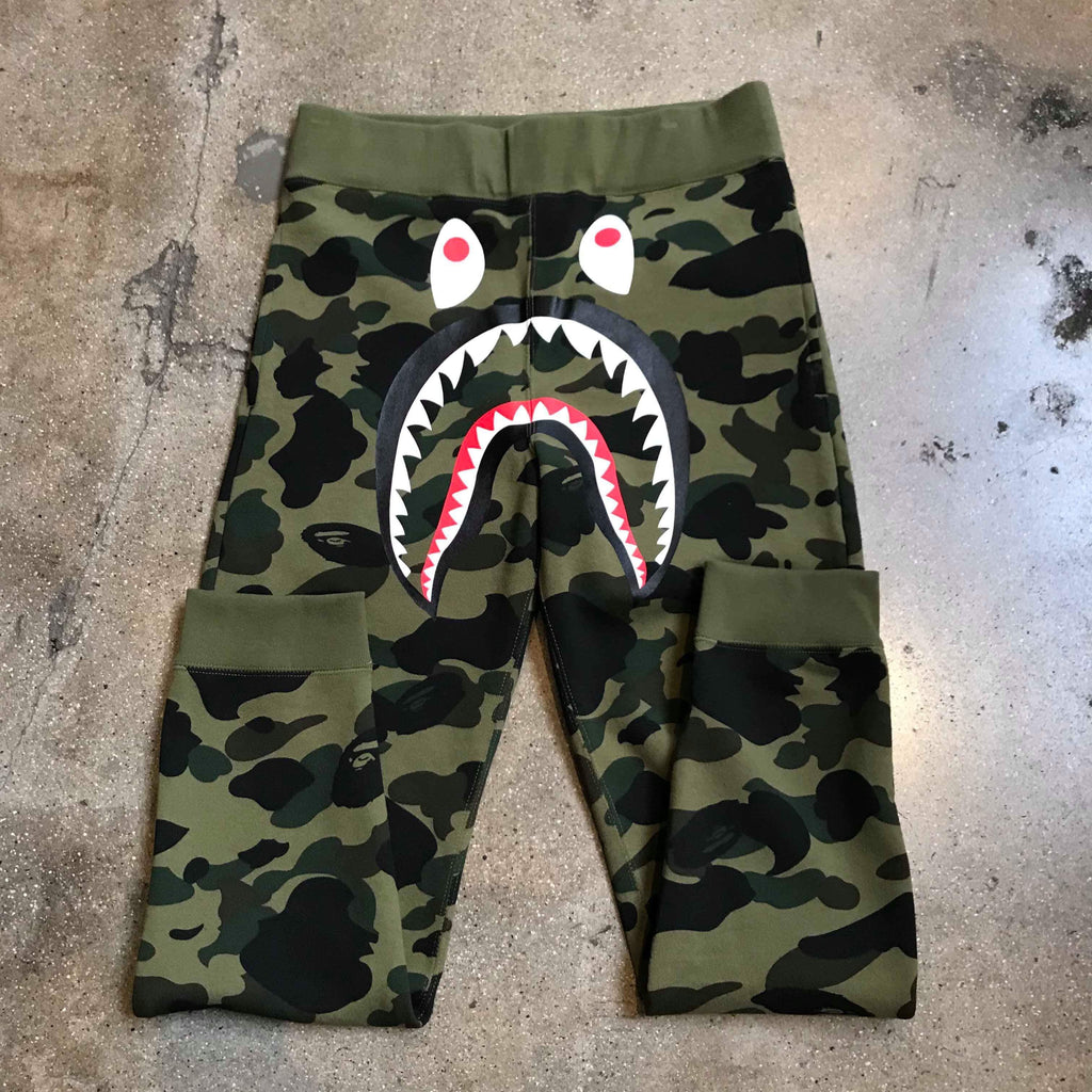 Bape 1st Camo Shark Sweat Pants Green - Exhibit A