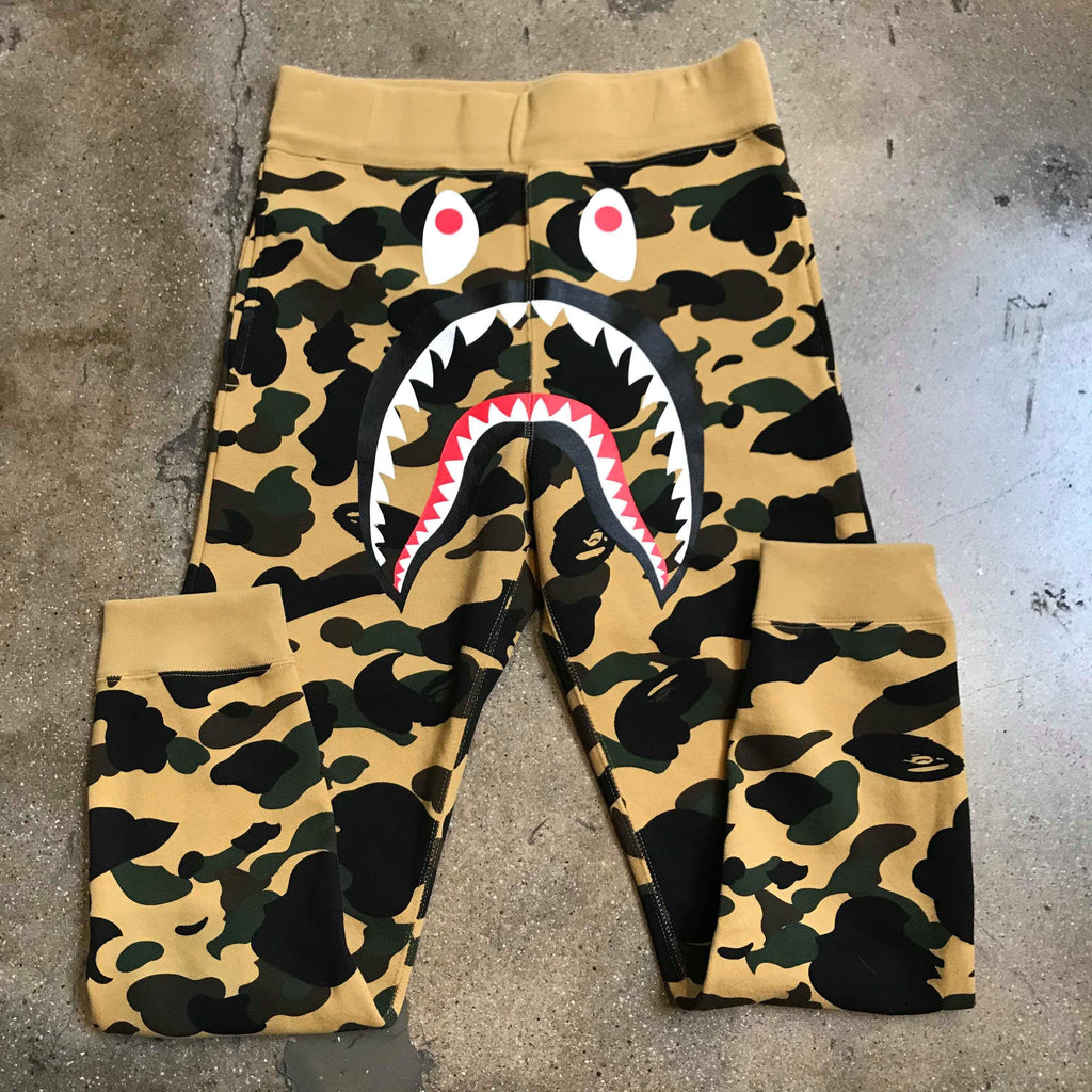 Bape 1st Camo Shark Sweatpants Yellow - Exhibit A