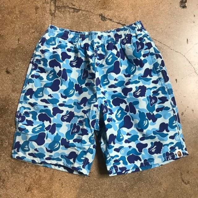 Bape ABC Camo Beach Shorts Blue - Exhibit A
