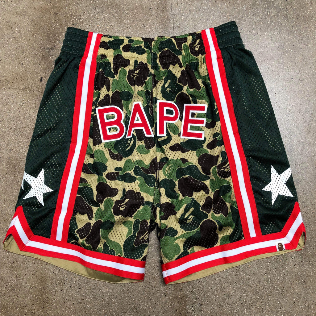Bape ABC Camo Logo Basketball Shorts Green - Exhibit A
