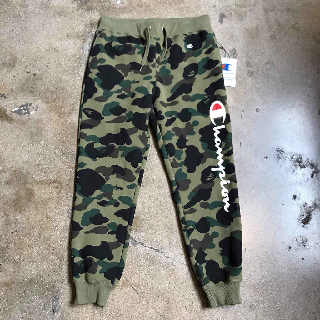 Bape 1st Camo Champion Sweatpants Green - Exhibit A