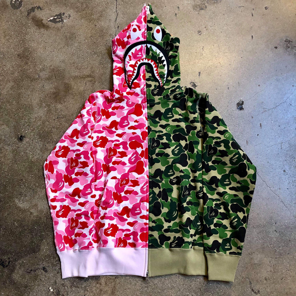 ABC Camo Split Shark Hoodie Green/Pink - Exhibit A