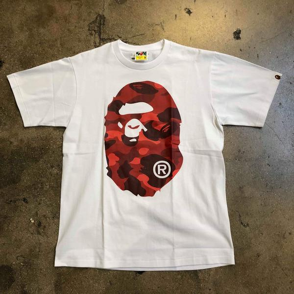Bape Color Camo Big Ape Head Tee White/Red - Exhibit A