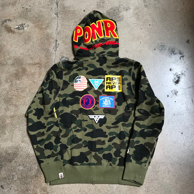 1st Camo Patch Shark Hoodie Green - Exhibit A