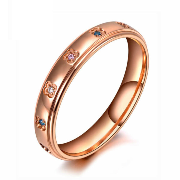Anillo flores brillantes – Acero inoxidable