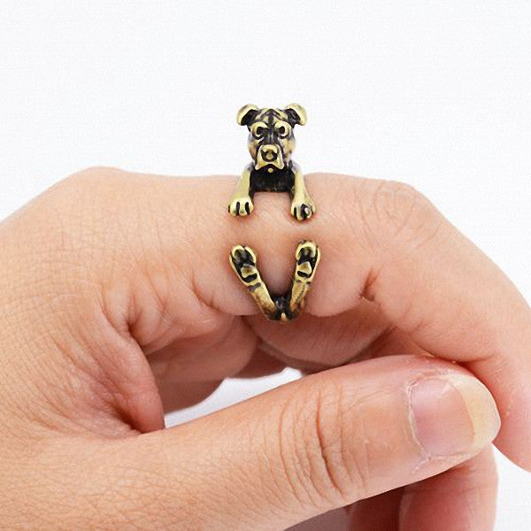 Anillos bronce mujer diseño cachorro Pit Bull