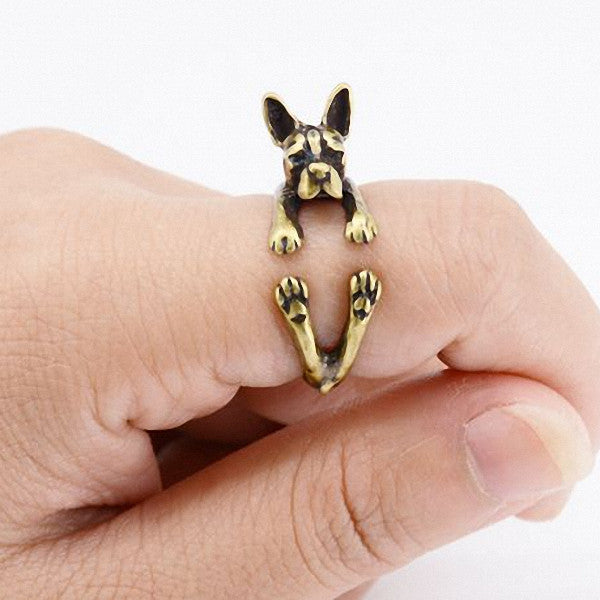Anillos bronce mujer diseño perro Boston Terrier