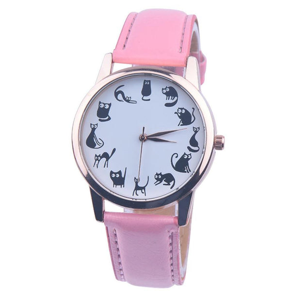 Reloj fashion gatos negros correa rosa