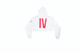 White 'IV' Cropped Hoodie