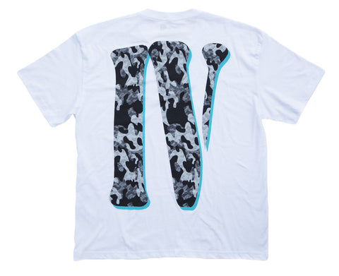 WHITE/TIFFANY BLUE 'IV' DROP SHOULDER TEE