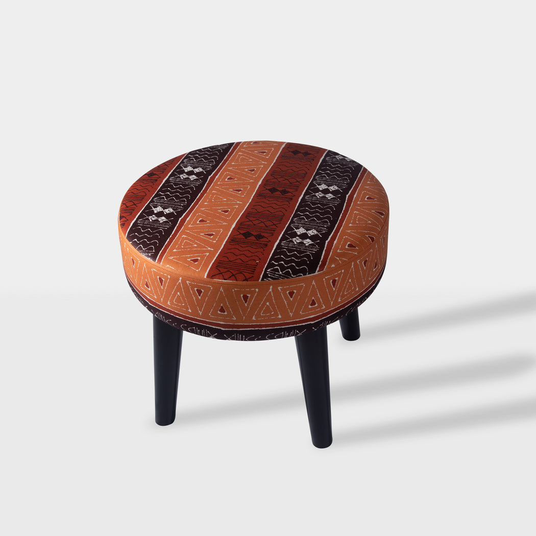 tribal mud brown and orange pattern beech wood ottoman - Top view