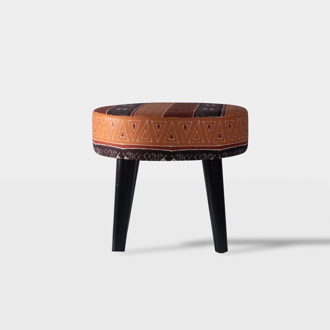 tribal mud brown and orange pattern beech wood ottoman