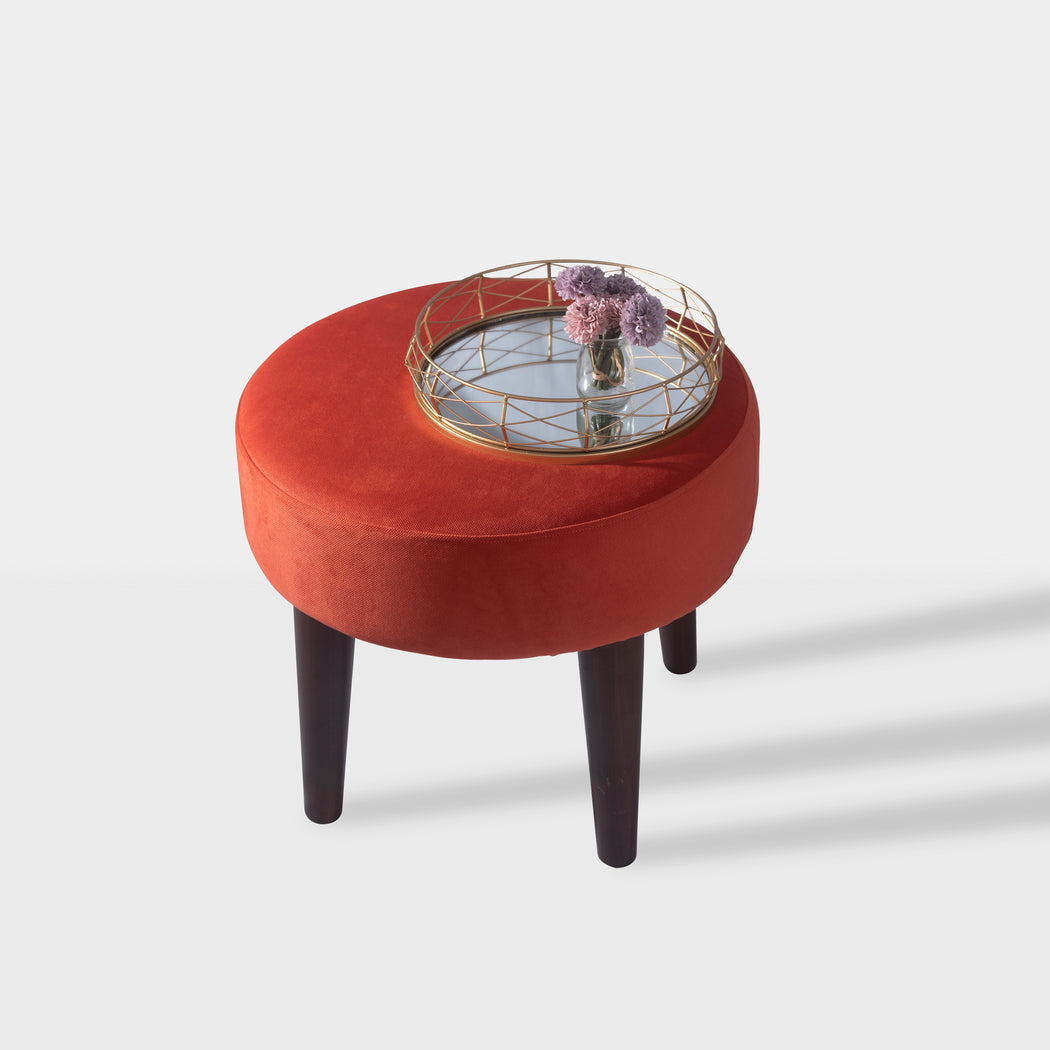 Orange velvet beechwood side table - top view