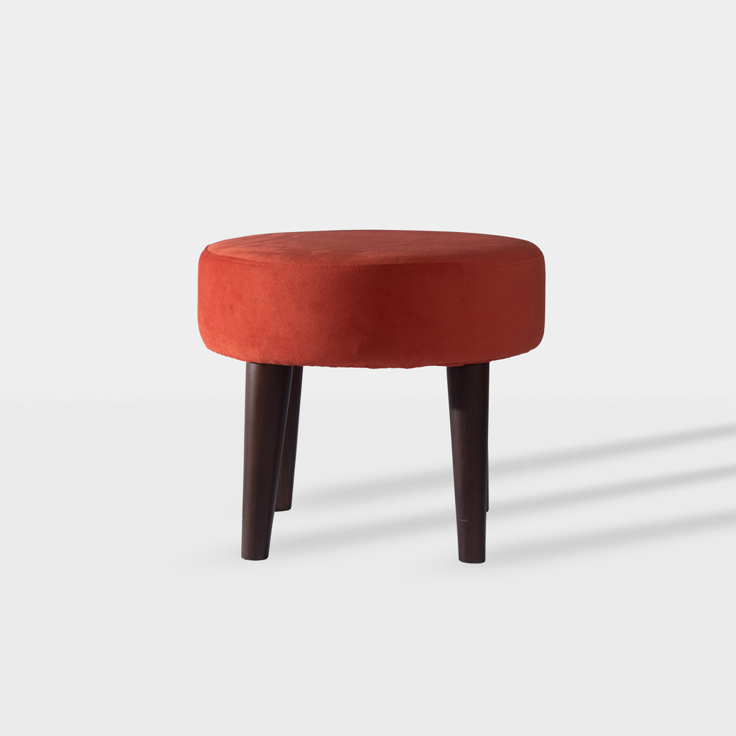 Orange velvet beechwood side table