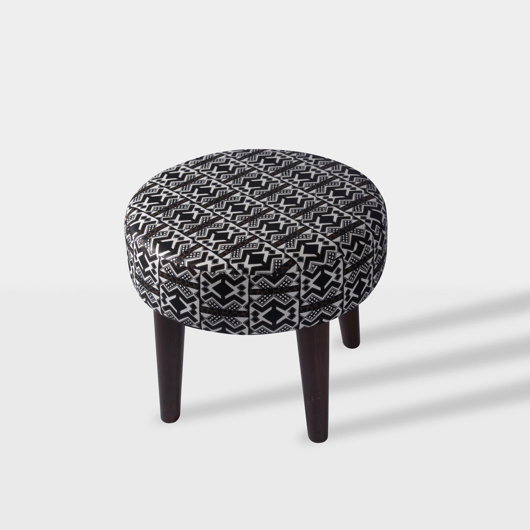 Dark brown, black and white tribal Ottoman - top view