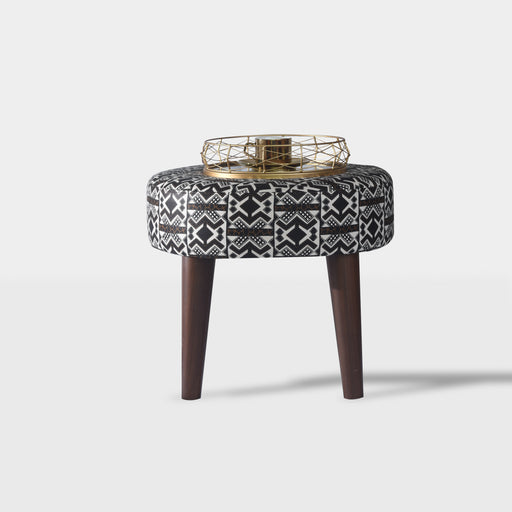 Dark brown, black and white tribal Ottoman