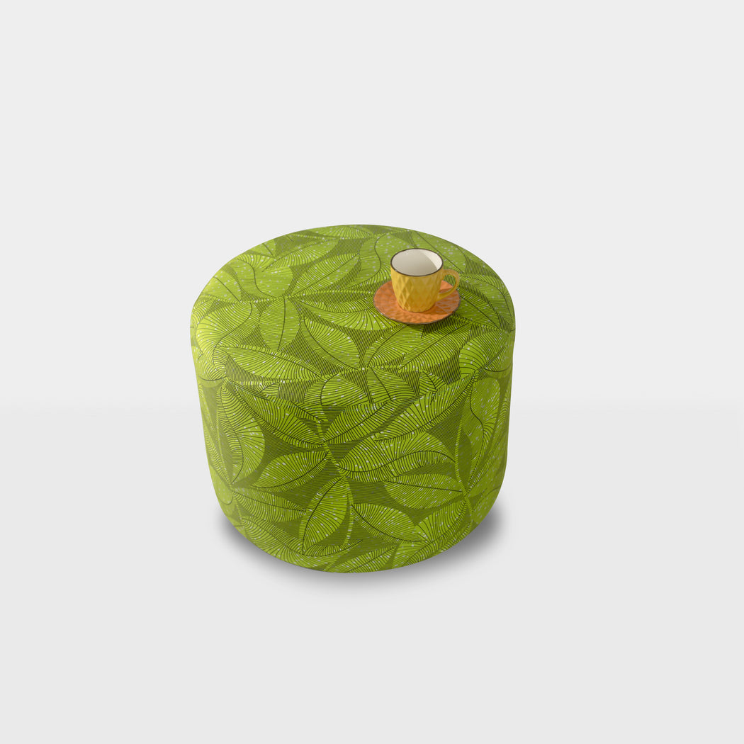 Green leaf ducha ottoman pouf - top view