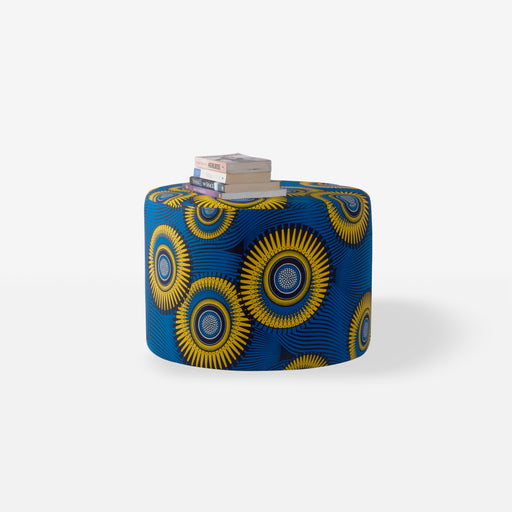 Royal Blue and yellow print Aneni ottoman pouf