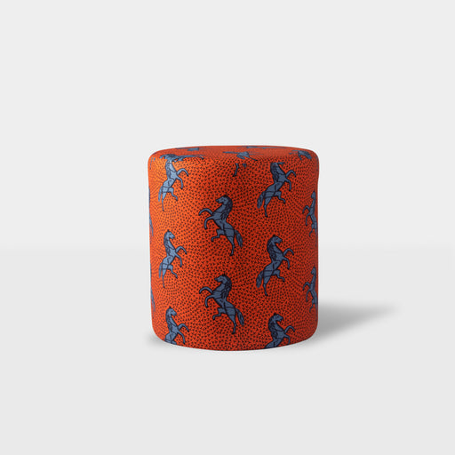 Orange with blue horse patterned ottoman