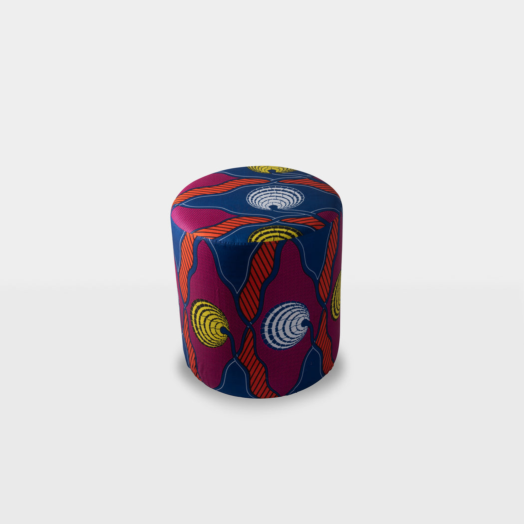 Multi color pattern ottoman pouf - top
