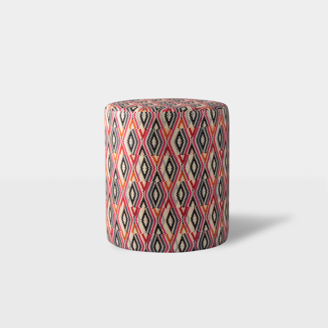 Pink mixed patterned print ottoman