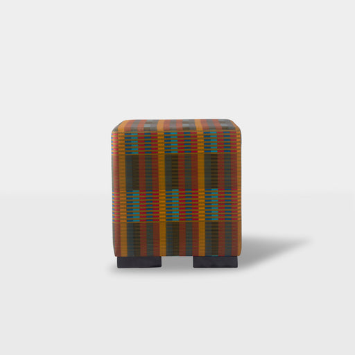 Front view - Multi color print square ottoman pouf
