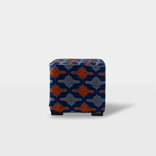 Front view - blue and orange print square ottoman pouf