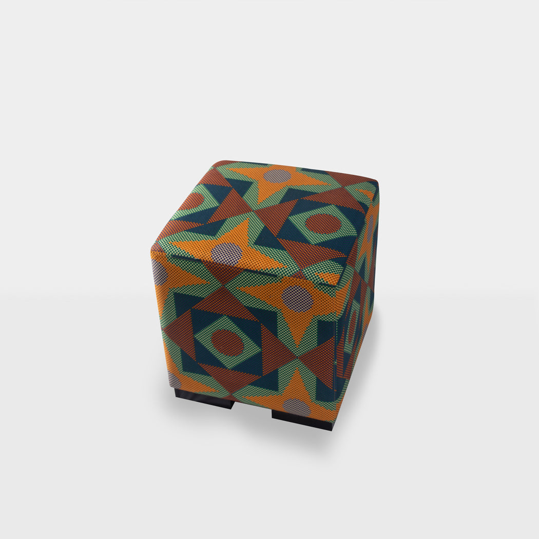 Top view - Orange square and triangle print mix ottoman pouf